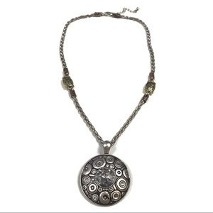 Abstract Silver Medallion Necklace